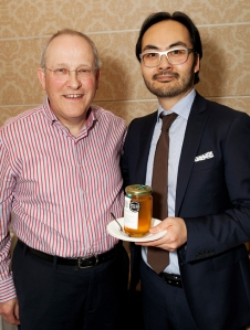 Tom O'Connell, O'Connells Restaurant presenting Peter Kreiner, Noma Restaurant with a jar of our Galtee Honey!